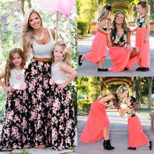 Mother Daughter Casual Stripe Floral Long Maxi Dress Sundress for Women Kid Girl