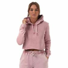 Women's Pink Soda Sport Wash Relaxed Fit Cropped Hoodie Sweatshirt in Pink