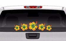 Hibiscus Flower Decal Row Rasta Island Hawaiian Vinyl Graphics Decal Sticker Car