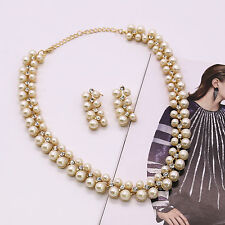 Lady Pearl Crystal Rhinestone Choker Pendent Necklace Earrings Set Jewelry Gift