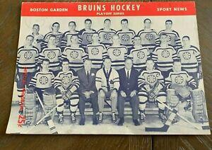 Rare 1958-57 Boston Bruins Official Playoff Program VS. Toronto Maple Leafs