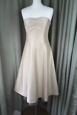 Coast 100% Silk Ivory Gold Strapless Party Cocktail Ball Dress With Netting UK12