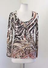 Cache Abstract Scarf Print Shirt Blouse Tee Size M Long Sleeve Leopard Tiger