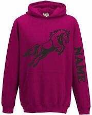 Boys Girls Kids Personalised Hoody Hoodie Hooded Sweatshirt Horse Riding Jumping