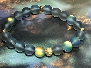 Mystical Smoky Gray Mermaid Glass Stretch Bracelet NWOT FREEE SHIPPING