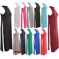 LADIES New HIGH SPLIT SIDE SLIT POLO NECK LONG TOP WOMEN'S MIDI DRESS SIZE 8-14