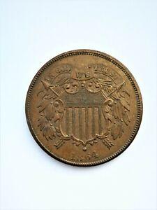 "RARE USA COIN - 2 CENTS "" UNION SHIELD "" - KM# 94 - AU - 1864 - KEY DATE"