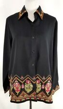Victor Costa Occasion Women's Shirt Size M Black Floral Embroidered Button Down