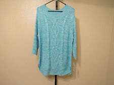 NWT John Paul Richard Womens Open Pullover Sweater-Color-Aqua/Ivory-Size-Large