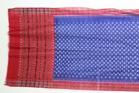 Vintage Long Ikat Cloth Sarong Shawl Wrap Cover Up Red White Blue Cotton 92 X 34