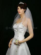 2T White Bridal Shoulder Short Length Pencil Edge Wedding Veil