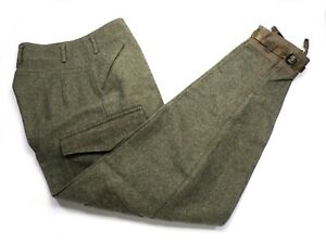 Vintage WWII Army Green 1945 Melton Wool Military Paratrooper Cargo Pants 28x31