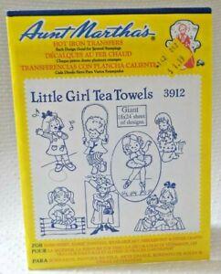 Aunt Martha's Hot Iron On Transfers - 3912 LITTLE GIRL TEA TOWELS 7 BIG designs