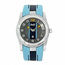 Dolce & Gabbana D&G DW0217 Silver Tone Multicolor Dial Blue Leather Mens Watch