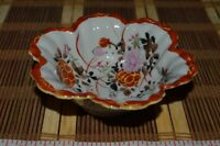 "Asian Porcelain Hand-Painted Kutani Floral Bowl Scalloped Edge 4 3/4""x1 5/8"""