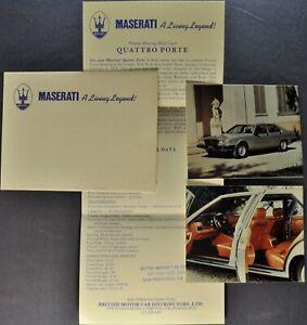 1979-1980 Maserati QuattroPorte Sedan Mailer Brochure Excellent Original