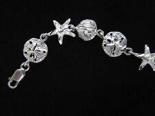 "STERLING SILVER Bracelet 8"" Sea Shell Sand Dollar Starfish Link 10g 925 NEW B73"