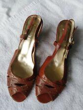 Ladies Tan Wedge Heel Shoes Sandals Size 7.5
