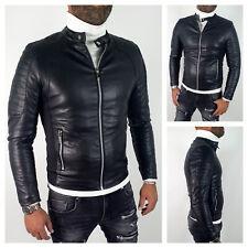 Giubbotto giacca uomo ecopelle casual giubbino moto slim fit nero Coreana Bikers
