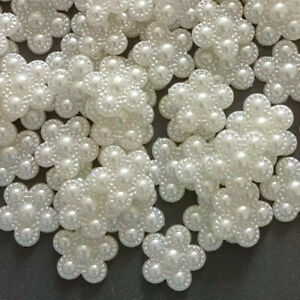 100pc Creamy White Resin Faux Pearl Flowers Flatback Buttons Decorations 18 mm