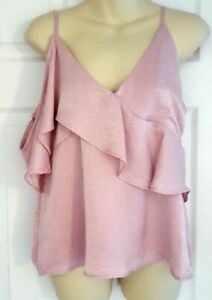 NSR Stitch Fix Womens Blouse Size Small One Shoulder Ruffle Dusty Pink Top New