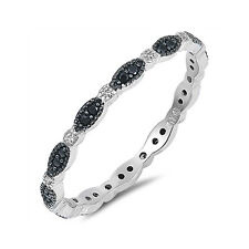 Full Eternity Wedding Band Ring 925 Sterling Silver Round CZ Choose Color