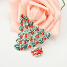 Fashion Vintage Red Crystal Christmas Tree Brooches Pins Holiday Party Gifts
