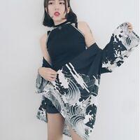 Women Loose Shawl Kimono Cardigan Chiffon Coat Vintage Floral Boho Jacket Blouse