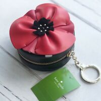 Kate Spade Large Red Flower Coin Purse Key chain black Leather zip around Nwt