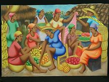 """RARE MASTERPIECE SIGNED 1978 HAITIAN PAINTING BY D. LUXAMA ~ 35"""" x 23.5"""""""