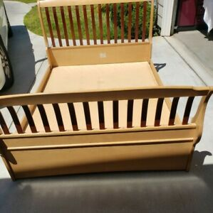 Full Size Solid Wood Bed Frame With Headboard And Backboard