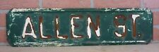 Old ALLEN ST Road Transportation SIGN Phila Heavy Steel Embossed Impressed 2