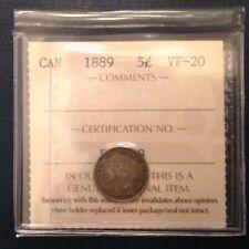 - Canada 1889 Five 5 Cents Victoria - ICCS Graded