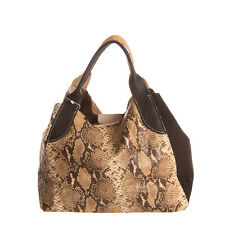 Leather Tote Bag Embossed Snakeskin & Croc Pattern Slouchy Magnetic Snap & Clasp