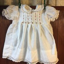 Vintage Polly Flinders Hand Smocked Dress Lace Trim tie Sides Polyester Sz 18 mo