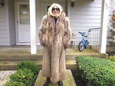 HARD TO FIND, LUXURIOUS FULL LENGTH FINNISH RACCOON FUR COAT SIZE SMALL/MED.