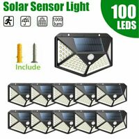 100LED Solar Power PIR Motion Sensor Wall Light Outdoor Garden Lamp Waterproof