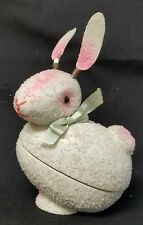 VINTAGE PAPER MACHE W/ VENETIAN DEW EASTER BUNNY CANDY CONTAINER
