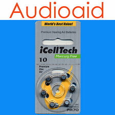 Hearing Aid Batteries QTY:30 (PR70, A10) Size 10 iCellTech - 2021