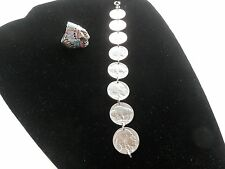 American Indian Sterling Silver MOP Ring&Buffalo/American Indian Nickel Bracelet