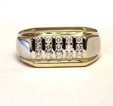 14K white yellow gold .45ct VS F diamond mens wedding band ring 12.7g estate