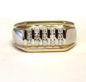 14K white yellow gold .45ct VS F diamond mens wedding band ring 12.7g estate 9.5