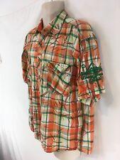 Attitude Mens M Orange Plaid Tiger Button Front Short Sleeve Indian Cotton Shirt
