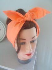 Tête Écharpe Cheveux Bande Orange Vif Mango Self Tie Bow Neck Rockabilly Swing