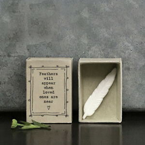 East of India White Porcelain FEATHER in Vintage Matchbox FEATHERS WILL APPEAR