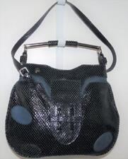 Gustto Blue Snake Skin Embossed & Leather 2 Way Carry Purse Clutch