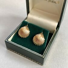 Vintage 9ct Gold Shell Screw Back Earrings 3g Boxed Hallmarked