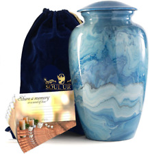 SOULURNS® - Blue Marble Finish Adult Cremation Urns for Human Ashes