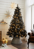 7ft Pre-Lit Hudson Black Xmas Tree Silver Glitter Tips With Stunning Lighting