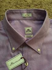 PETER MILLAR Men's Purple Nanoluxe Button Long Sleeve Shirt Large NWT $125.00